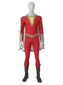 Shazam Billy Batson Red Bodysuit Battle Suit Halloween Cosplay Costume Full Set