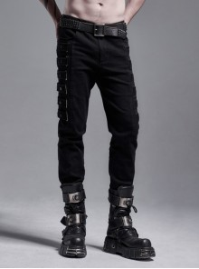 Side Metal Rings Bandage Black Punk Twill Woven Trousers