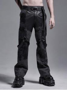 Black Striped Splice Abstract Printing Woven Metal Rings Leg Loops Punk Pants