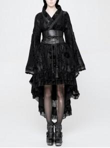 Flocking Printing Jacquard Horn Sleeve Lace-Up Waist Seal Lace Hem Black Gothic Dress