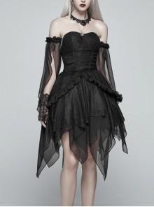 Black Lolita Lace Mesh Imitation Silk Crepe Off-Shoulder Long Sleeve Back Lace-Up Irregular Sharp Corners Hem Gothic Dress