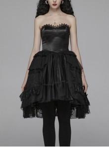 Lolita Mercerizing Forging Off-Shoulder Back Lace-Up Many Layers Lace Chiffon Bubble Hem Black Gothic Dress