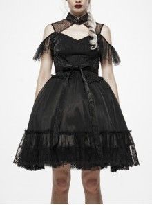 Black Jacquard Stand-Up Collar Metal Plate Buckle Chest Hollow-Out Back Lace-Up Lace Hem Gothic Dress