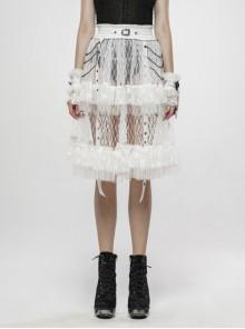 Large Coarse Mesh Restoring Ancient Ways Decorative Pattern Buckle Leather Strips Chain Decoration Lace Frill Hem White Punk Skirt