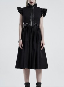 Lolita Stand-Up Collar Shoulder Small Fly Sleeves Waist Thick Iron Ring Belt Back Lace-Up Black Punk Dress