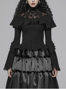 Lace High Collar Chest Frill Lace-Up Horn Sleeves Lace Cuff Short Black Gothic Lolita Blouse