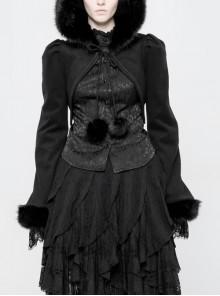 Black Lolita Imitation Rabbit Hair Chest Lace-Up Fur Ball Decoration Horn Sleeves Short Punk Hooded Blouse