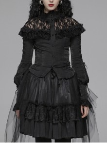 Micro-Gloss Woven High Collar Chest Splice Lace Long Sleeves Lace-Up Black Gothic Lolita Blouse