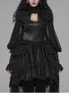 Irregular Texture Net Splice Delicacy Jacquard High Collar Big Puff Sleeves Lace Cuff Black Gothic Lolita Blouse