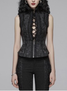 Jacquard High Collar Chest Hollow-Out Lace-Up Frill Lace Back Lace-Up Black Gothic Lolita Waistcoat