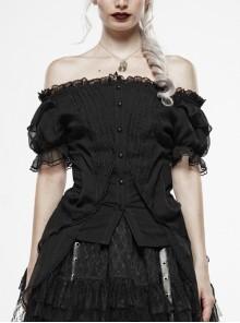 Black Lolita Off-Shoulder Carved Button Lantern Sleeves Back Lace-Up Chiffon Lace Hem Gothic Blouse