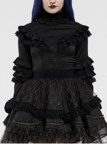 Imitation Satin Woven High Collar Chest Frill Small Puff Sleeves Lace Cuff Back Lace-Up Black Gothic Blouse