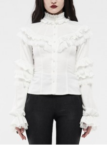 Imitation Satin Woven High Collar Chest Frill Small Puff Sleeves Lace Cuff Back Lace-Up White Gothic Blouse