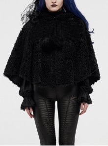 Plush Heart-Shaped Hollow-Out Ball Cap Rope Irregular Hem Black Gothic Lolita Hooded Cape