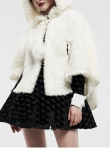 Plush Heart-Shaped Hollow-Out Ball Cap Rope Irregular Hem White Gothic Lolita Hooded Cape