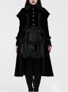 Fur Collar Front Placket Glass Imitation Diamond Buttons Back Waist Lace-Up Black Gothic Velveteen Woven Long Coat