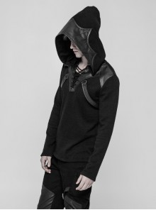 Coarse Grain Wool Weave V-Neck Chest Lace-Up Leather Bandage Black Punk Hooded Sweater