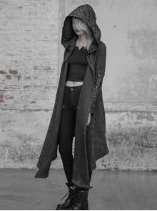 Skin Texture PU Leather Sleeves Black Gothic Medium Hooded Cardigan Granular Wool Coat