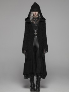 Metal Retro Pattern Hasp Horn Sleeve Lace Hem Black Gothic Thickened Wool Woven Hooded Long Coat