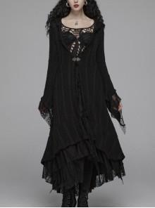 Metal Retro Pattern Hasp Horn Sleeve Lace Hem Black Gothic Thin Wool Woven Hooded Long Coat