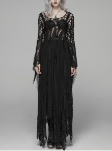 Black Hollow-Out Perspective Wool Fabric Square Collar Horn Sleeves Irregular Lace Hem Gothic Long Dress