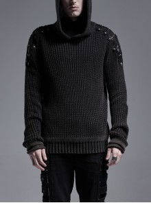 Shoulder Texture PU Leather Loop Long Sleeves Black Punk Cotton Wool Knit Hooded Sweater