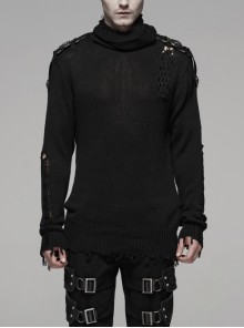 High Collar Shoulder Splice Pressurized Woven Metal Buckle Rough Selvedge Hem Black Punk Sweater