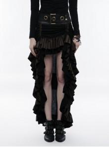 Waist Oversized Metal Ring Hasp Lace-Up Side Zipper Rear Back Long Brown Frill Hem Black Punk Skirt