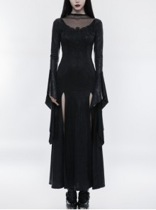 Mesh High Collar Chest Positioning Lace Decals Decoration Horn Sleeves Open Forklift Hem Black Gothic Long Dress