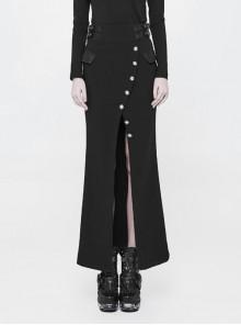Fine Twill Weave Waist Head Leather Hasp Metal Button Split Hem Black Punk Tight Long Skirt