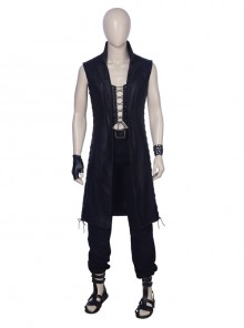 Devil May Cry 5 V The Mysterious One Halloween Cosplay Costume Black Long Vest Full Set