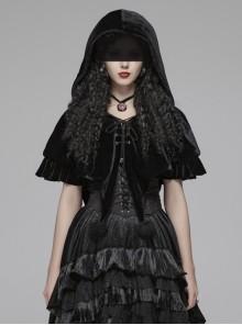 Black Lolita Chest Lace-Up Frill Woolly Ball Hem Black Gothic Coral Velvet Short Cloak