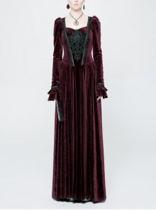 Square Collar Cheat Retro Pattern Ribbon Decoration Long Sleeves Frill Cuff Back Lace-Up Wine Red Gothic Long Velvet Dress
