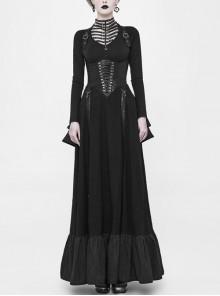 Off-Shoulder Back Cross Leather Straps Metal Buckle Back Waist Lace-Up Black Punk Long Dress