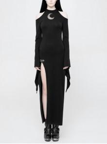 Off-Shoulder Chest Hollowed-Out Moon Pattern Horn Sleeves Black Punk High Fork Long Knit Dress