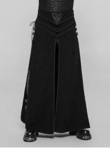 Vintage Jacquard Front Embroidery Side Metal Buckle Hasp Lace-Up Black Punk Slit Long Kilt