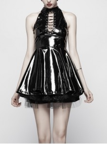 Gloss Coated Knit Small High Collar Off-Shoulder Chest Hollow-Out Lace-Up Back Zipper High Waist Black Punk Mini Dress