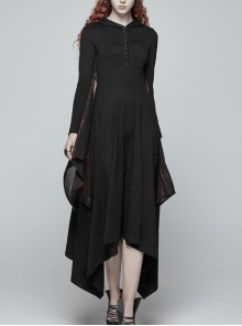 Chest Embroidery Sleeve Stitching Wine Red-Coated Chiffon-Made Batwing Styling Black Gothic Long Hooded Dress