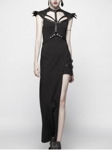 Armor Shoulder Chest Hollow-Out Metal Rings Leather Hasp Asymmetric Hem Black Punk Knit Dress