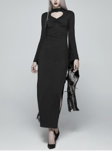 Small High Collar Chest Heart-Shaped Hollow-Out Long Sleeves Lace Sleeve Hem Slit Lace-Up Black Gothic Maxi Dress