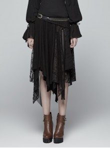 Metal Ring Braided Belt Inkjet Gradient Splice Asymmetric Lace Hem Black Punk Skirt