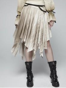 Metal Ring Braided Belt Inkjet Gradient Splice Asymmetric Lace Hem White Punk Skirt