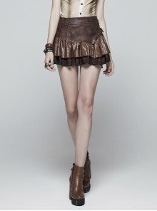 Metal Eyelets D-Buckle Side Lace-Up Frill Lace Hem Brown Punk Knit Splice PU Leather Skirt