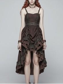Rough Cotton Hemp Splice Pattern PU Leather High Waist Metal Rings Lace-Up Irregular Frill Hem Brown Punk  Sling Dress