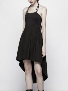 Waist Metal Eyelets Belt Back Spine Shape PU Leather Decoration Black Punk Halter Dress