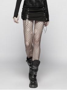 Black Twill Side Pocket Metal Ring Bandage Asymmetric Eyelets Lace-Up Black Punk Short Skirt