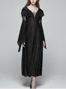 Black Jacquard Knit V-Neck Lace-Up Chest Frill Big Flare Sleeves Lace Gothic Long Hooded Dress