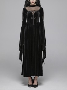 Small High Collar Chest Splice Mesh Lace-Up Slit Flare Sleeves Back Waist Lace-Up Black Gothic Long Velvet Dress