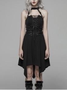 Off-Shoulder Chest Lace-Up Waist Leather Straps Decoration Asymmetric Sharp Corners Hem Black Punk Rivet Halter Dress