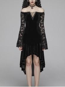 Off-Shoulder V-Neck Lace-Up Lace Flare Sleeves Frill Hem Black Gothic Velvet Dress